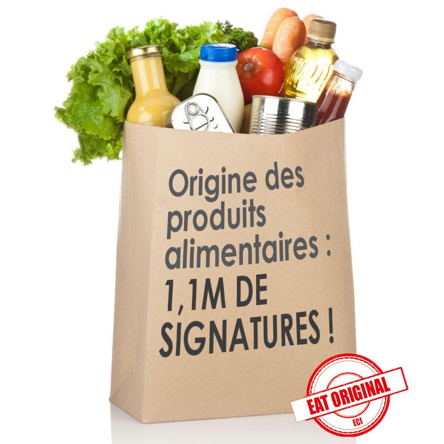 Origine des produits alimentaires : 1,1 millions de signatures !